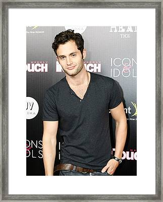 Penn Badgley At Arrivals For In Touch Framed Print