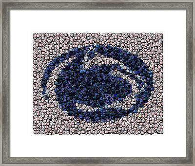 Penn State Bottle Cap Mosaic Framed Print by Paul Van Scott