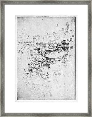 Framed Print featuring the drawing Pennell Polo Grounds 1921 by Granger