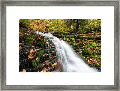 Pennsylvania Autumn Ricketts Glen State Park Waterfall Framed Print by Mark VanDyke