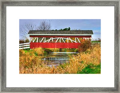 Pennsylvania Country Roads - Oregon Dairy Covered Bridge Over Shirks Run - Lancaster County Framed Print by Michael Mazaika