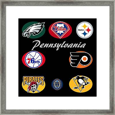 Pennsylvania Professional Sport Teams Collage  Framed Print by Movie Poster Prints