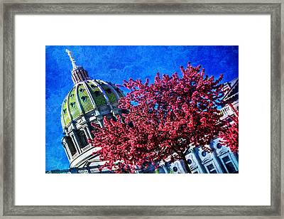 Framed Print featuring the photograph Pennsylvania State Capitol Dome In Bloom by Shelley Neff