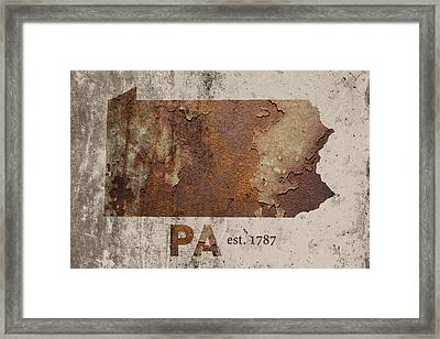 Pennsylvania State Map Industrial Rusted Metal On Cement Wall With Founding Date Series 011 Framed Print by Design Turnpike