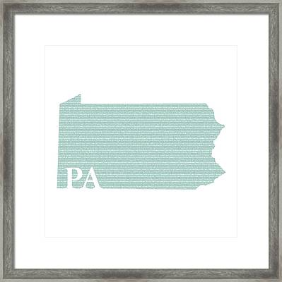 Pennsylvania State Map With Text Of Constitution Framed Print