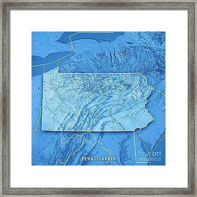 Pennsylvania State Usa 3d Render Topographic Map Blue Border Framed Print