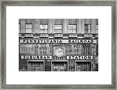 Pennsylvania Suburban Station Bw  Framed Print by Susan Candelario
