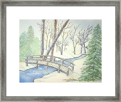 Pennsylvania Winter With Bridge Framed Print by Constance Larimer