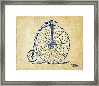 Penny-farthing 1867 High Wheeler Bicycle Vintage Framed Print by Nikki Marie Smith