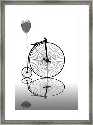 Penny Farthing Reflections Mono Framed Print