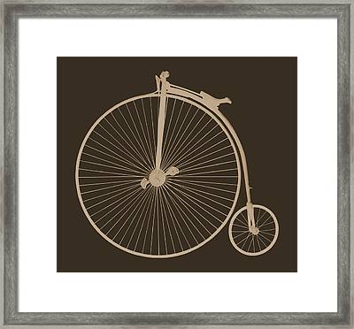 Penny Farthing Sepia On Brown Framed Print