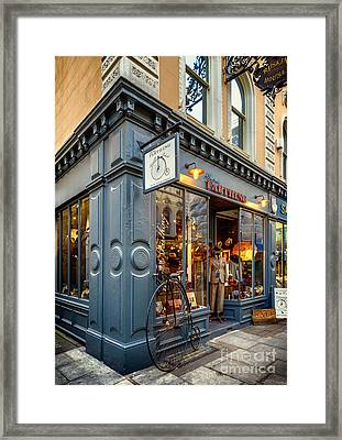Penny Farthing Shop Framed Print by Adrian Evans