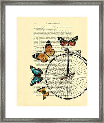 Penny Farthing With Butterflies Framed Print