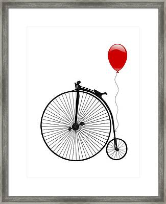 Penny Farthing With Red Balloon Framed Print