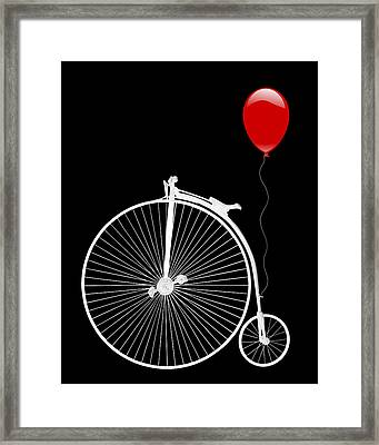 Penny Farthing With Red Balloon On Black Framed Print