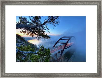 Pennybacker Bridge In Morning Fog Framed Print by Evan Gearing Photography