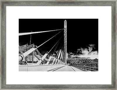 Penobscot Narrows Bridge In Infrared Framed Print by Kay Brewer