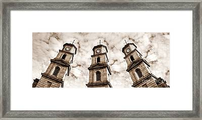 Penryn Clock Tower In Sepia Framed Print by Terri Waters
