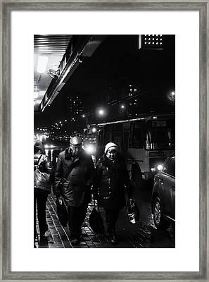 Pensioners Walking At Night Ufa Russia 2015 Framed Print