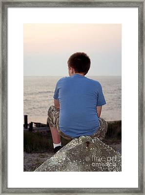 Pensive Beach Teen Boy 3 Framed Print