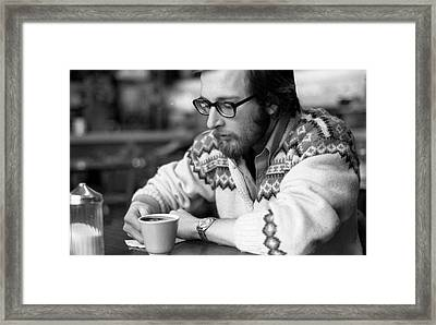 Pensive Brown Student, Louis Restaurant, 1976 Framed Print