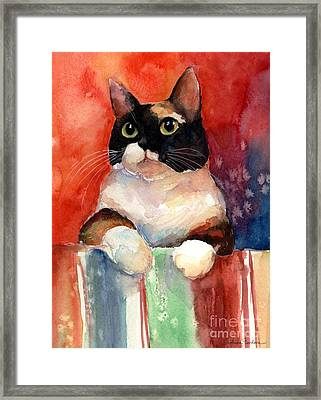 Pensive Calico Tubby Cat Watercolor Painting Framed Print