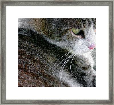 Framed Print featuring the digital art Pensive by Chuck Mountain