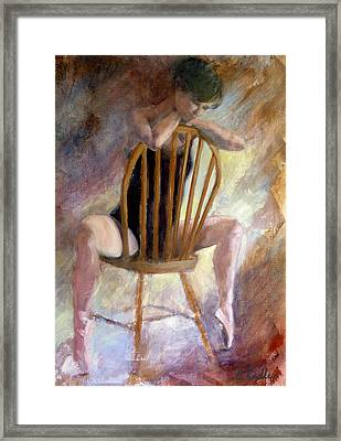 Pensive Dancer Framed Print by Ann Radley