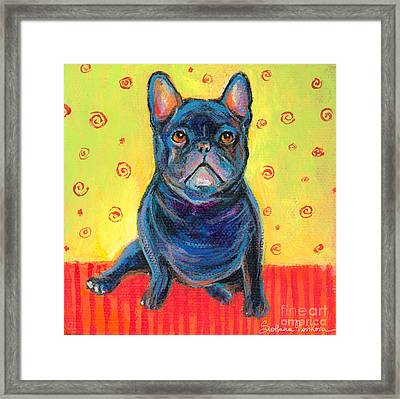 Pensive French Bulldog Painting Prints Framed Print by Svetlana Novikova