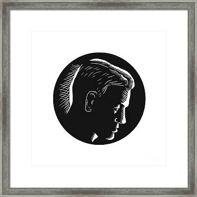 Pensive Man In Deep Thought Circle Woodcut Framed Print by Aloysius Patrimonio