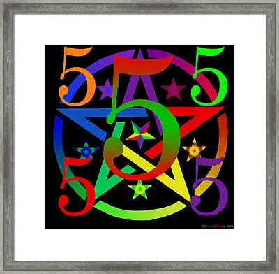 Penta Pentacle In Black Framed Print