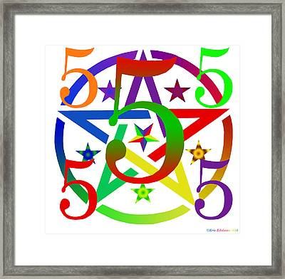 Penta Pentacle White Framed Print by Eric Edelman
