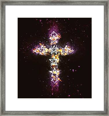 Pentagram Cross On Fire With Pink Haze Framed Print