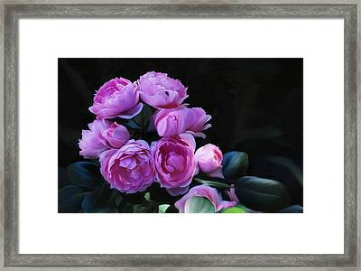 Framed Print featuring the painting Peoni Cluster by Elaine Manley