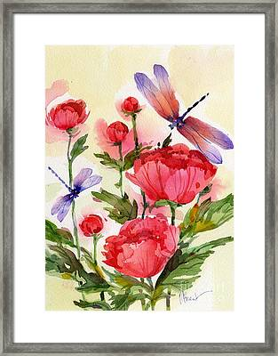 Peonies And Dragonflies Framed Print