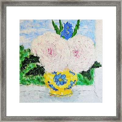Peonies And Iris On The Window. Framed Print