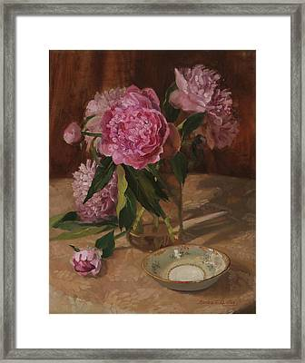 Peonies And Noritaki Framed Print by Sandra Quintus