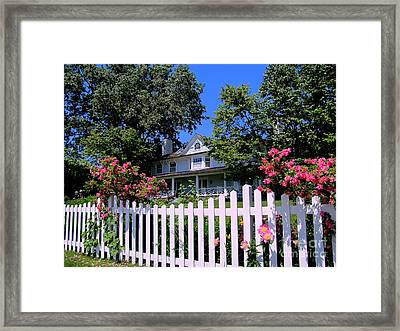 Peonies And Picket Fences Framed Print