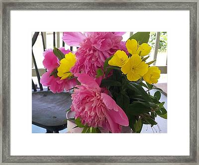 Framed Print featuring the photograph Peonies And Primroses by Deb Martin-Webster