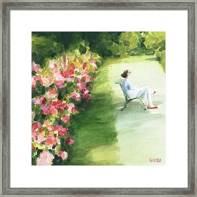 Peonies And Red Shoes Parc De Bagatelle Framed Print by Beverly Brown