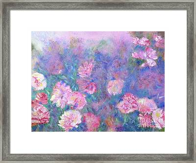 Framed Print featuring the painting Peonies by Claire Bull