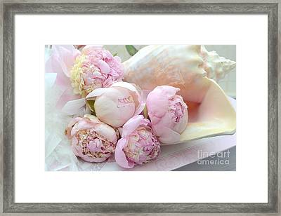 Shabby Chic Pink Peonies  - Dreamy Pink Yellow Peonies In Beach Shell - Dreamy Peony Decor Framed Print by Kathy Fornal