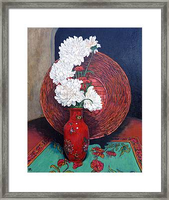 Framed Print featuring the painting Peonies For Nana by Tom Roderick