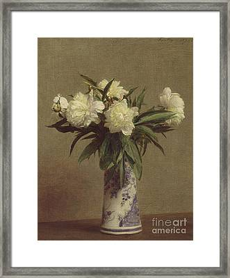 Peonies In A Blue And White Vase Framed Print
