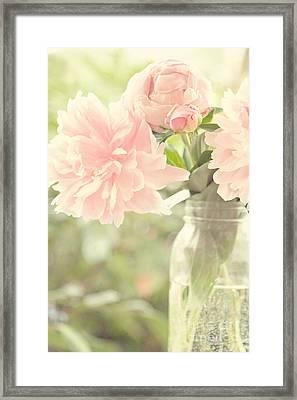 Peonies In A Mason Jar Framed Print
