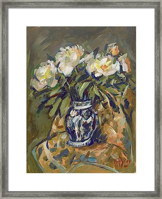 Peonies In Delft Blue Vase On Quilt Framed Print