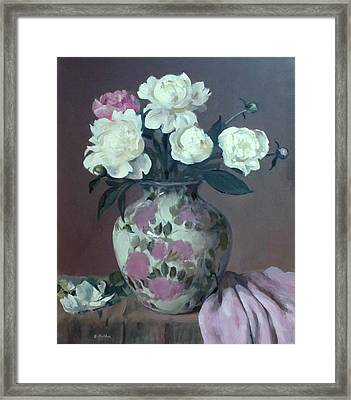 One Pink And Four White Peonies,lavender Cloth  Framed Print