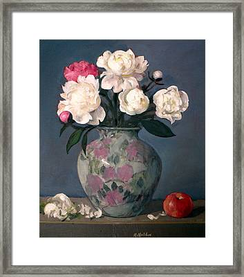 Peonies In Floral Vase With Red Apple Framed Print