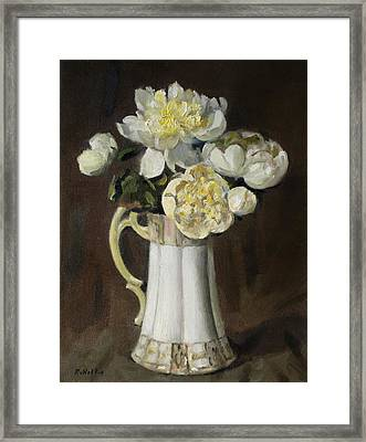 Peonies In Fluted Japanese Coffeepot Framed Print