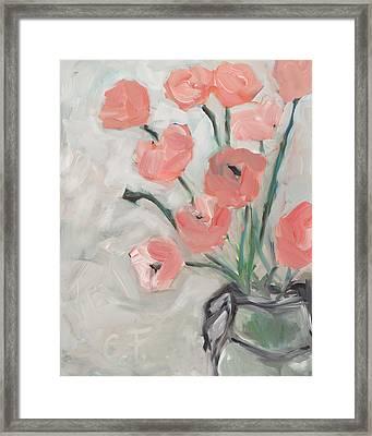 Peonies In Pink Framed Print by Chelle Fazal